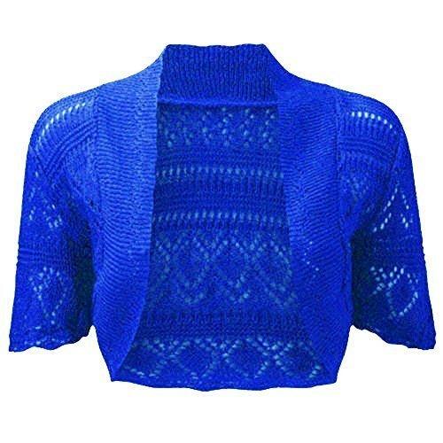 fashionchic femmes BOLERO étole femmes grande taille crochet cardigan tricot grande taille étole Haut 8-30 Bleu Roi