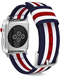 MoKo Armband Kompatibel für Apple Watch Series 5/4 / 3/2 / 1 42mm, Nylon Strick Replacement Uhrenarmband Sportarmband Band Ersatzband mit Schließe, Blau/Rot/Weiß