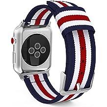 MoKo Cinturino per Apple Watch 42mm, Morbido Braccialetto Sportivo Regolabile in Nylon + Connettore per Apple Watch 42mm di Series 1 2015 & Series 2 2016 & Series 3 2017 & Nike+ 2017, Blu+Bianco+Rosso