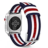 MoKo Correa para Apple Watch 42mm - Adjustable Reemplazo Band Deportiva con Fino Tejido de Nilón para Apple Watch 42mm SERIES 1 / 2 / 3, 2015 & 2016 & 2017& Nike+ Todos los modelo, Azul&Blanco&Rojo