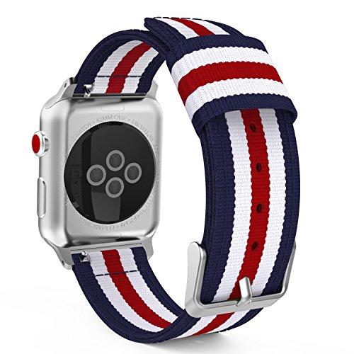 MoKo Armband Kompatibel für Apple Watch Series 4/3 / 2/1 42mm, Nylon Strick Replacement Uhrenarmband Sportarmband Band Ersatzband mit Schließe, Blau/Rot/Weiß Titan Wellington