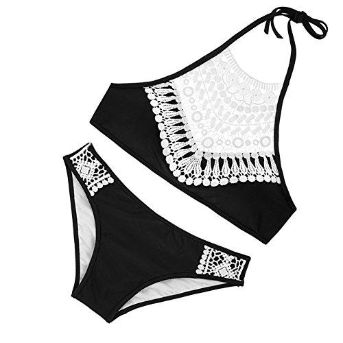 Minetom Femmes Sablonneux Plage push-up Soutien gorge Rembourré Bikini Sexy Maillots de Bain Plage Noir FR 34