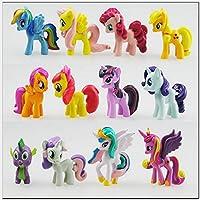 Decoración para tarta o colección Little Pony (12 piezas) de Outland: decoración de fiesta de cumpleaños para niños, figuras de pony para niños y niñas, coloridos juguetes de caballo para cupcakes, adornos de pony
