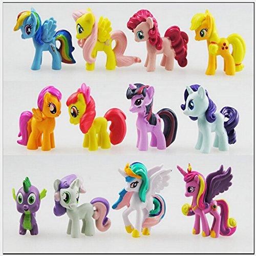 Decoración para tarta de Little Pony (12 piezas) de Outland: decoración de fiesta de cumpleaños para niños, figuras de pony para niños y niñas, coloridos juguetes de caballo para cupcakes, bonitos adornos de pony