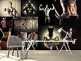 JPBHX Papier Peint Auto-Adhésif - (W) 400X (H) 280Cm Gymnase Personnages Musculation Type De Muscle Mâle Restaurant Bureau Magasin 3D Murale Murale Art Garçon Et Fille Enfants Fond Chambre Peinture M...