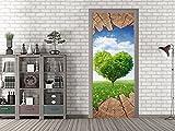 GRAZDesign 791682_92x213 Tür-Bild Herz - Baum - Wiese | Aufkleber Fürs Wohnzimmer | Türfolie Selbstklebend (92x213cm//Cuttermesser)