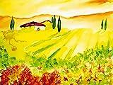 Artland Qualitätsbilder I Bild auf Leinwand Leinwandbilder Wandbilder 60 x 45 cm Landschaften Felder Malerei Gelb B1UZ