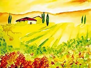 Artland Qualitätsbilder I Bild auf Leinwand Leinwandbilder Wandbilder 60 x 45 cm Landschaften Felder Malerei Gelb B1UZ Licht der Toskana