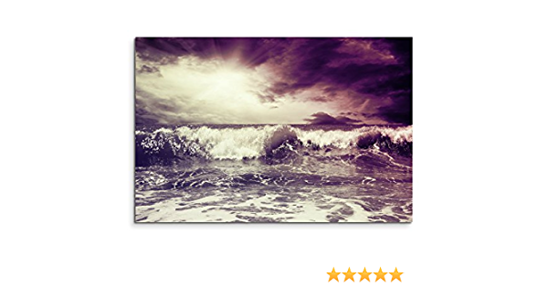 120/x 80/cm XXL huge pictures Completely Framed with Genuine Wood Frame in Mauve Painting Rough Sea