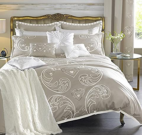 By Caprice Home Duchess Heart Sequin Embroidery Duvet Cover King Size Champagne