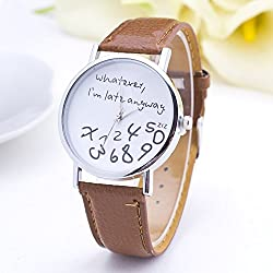 SSITG 'Whatever, I'm Late Anyway Moulded Ladies Fashion Watch PU Leather Watch Quartz Watch