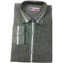 Haier Men's Cotton Formal Shirts (Grey_Large)