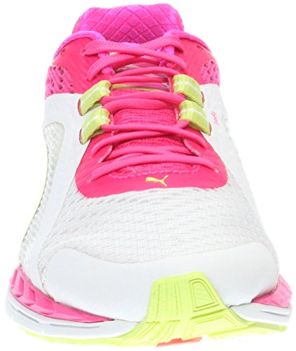 Puma Womens Speed 500 Ignite Running Shoes  White Pink Glo Silver  10
