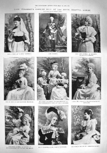 Old Original Antik viktorianischen Print 1895Lady Wolseley-Kostüm Ball Hospital Dublin Hound (1895 Kostüme)