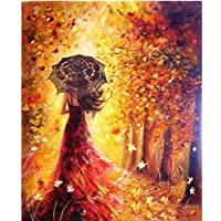 MASHICHEN Painting by Numbers DIY Wall Pictures for Living Room Red Dress Girl Canvas Poster Umbrella Girl Forest Home Decor Gift Digital Oil Painting-(40X50Cm) With Frame