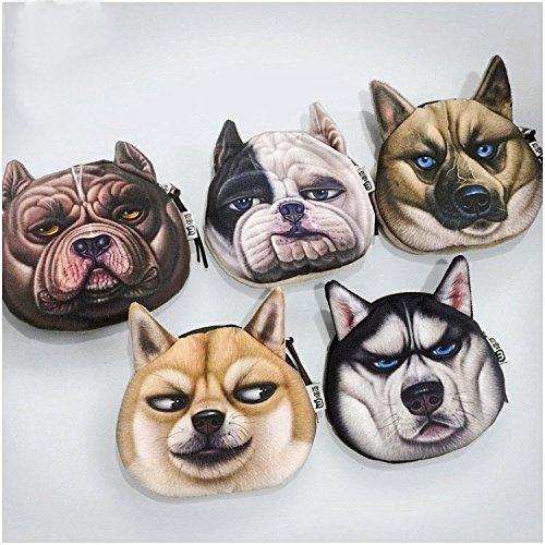 Funny Münzfach für Kinder  Evil Hund Head Shaped Mini Geldbörse mit Schlüsselanhänger (Husky-leder-geldbörsen)