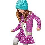 Yazidan Kleinkind Baby mädchen Kinder Kleidung Langarm Cartoon Deer Tops t-Shirt Kleid -Baby Mädchen Candy Farbe Langarm Solide Prinzessin Kleid Casual Kleinkind Kinder Swing Mini Kleid