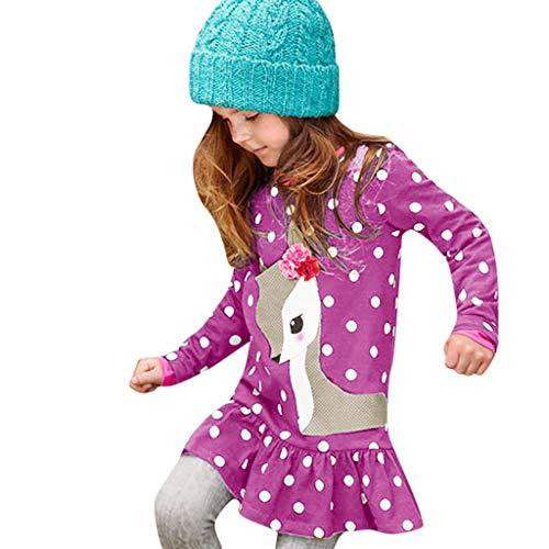 y Mädchen Kleid Karikatur-Rotwild Dot Drucken Kleider Langarm Urlaub T-Shirt Kleid Outfit Kleidung ()