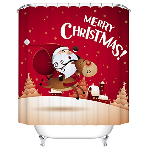 Ormis Bath Decoration Merry Christmas Pattern With Lovely Santa Claus Custom Digital Priting Ployester Fabric Shower Curtain Set Red 72 Inch X