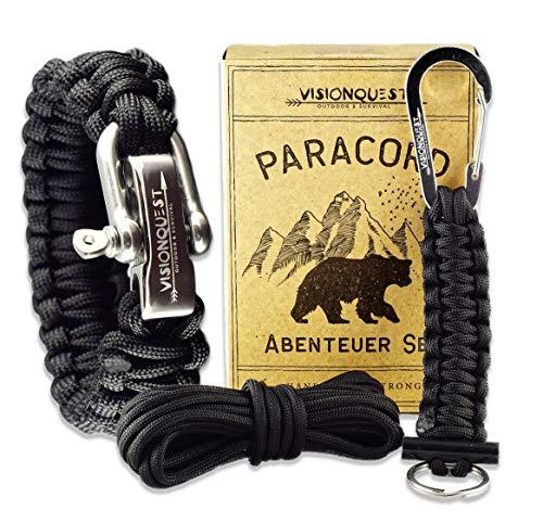 Visionquest Outdoor & Survival Paracord Set | Armband & Schlüsselanhänger | Ersatzseil | Flechtanleitung | Feuerstahl