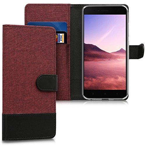 Kwmobile Xiaomi Mi 5X / Mi A1 Hülle - Kunstleder Wallet Case für Xiaomi Mi 5X / Mi A1 mit Kartenfächern und Stand Funda para teléfono móvil Funda Tipo Libro Rojo