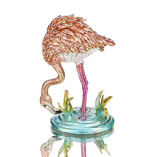 H&D Pink Flamingos Schmuckkästchen Kristall Jeweled Erinnerungsschachtel Ornament Strass Halskette Schmuck Container Collectible Geschenke
