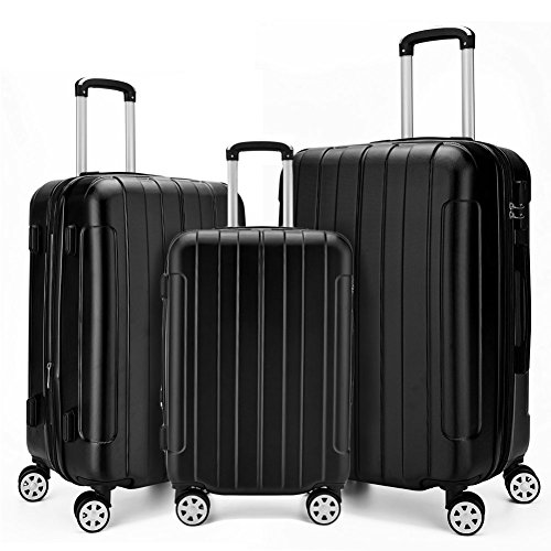 "Fochier Luggage 3 Piece Set Expandable ABS+PC Hard Shell Spinner Suitcase Lightweight(20"" 24"" 28"") (Black)"