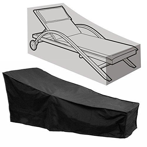 Comfysail sdraio copertura impermeabile per lettino prendisole da giardino, patio mobili con una borsa di stoccaggio, nero,208* 76* 41/79cm