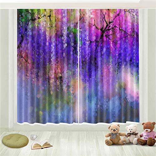 Lgxingliyidian trattamento di finestre super soft tenda oscurante moderna pittura a inchiostro colorata fantasia albero vite 3d stampa isolamento termico tende occhiello 150 (h) x130cm (w) x2