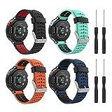 MoKo [4 pezzi Cinturino per Garmin Forerunner 235, Morbido Bracciale di Ricambio in Silicone per Garmin Forerunner 220/230/235/620/630/735 Smart Watch, Multicolore B