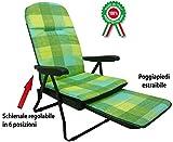 Poltrona sedia sdraio in metallo imbottita con poggiapiedi per casa prendisole