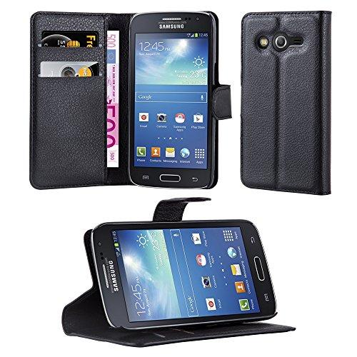 Cadorabo Custodia Libro per Samsung Galaxy Core LTE in Nero Carbone – con Vani di Carte, Funzione Stand e Chiusura Magnetica – Portafoglio Cover Case Wallet Book Etui Protezione