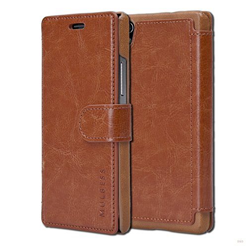 Mulbess Layered Dandy Ledertasche im Bookstyle und Kartenfach für Huawei P7 hülle Tasche Leder,Vintage Braun