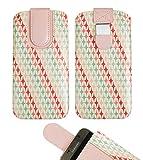 emartbuy Rosa Sterne Premium-Pu-Leder-Slide In Case Abdeckung Tashe Hülle Sleeve Halter (Größe LM4) Mit Zuglaschen Mechanismus Geeignet Für Die Unten Aufgeführten Smartphones