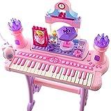 QXMEI Auserlesene Produkt-musikalische Kind-elektronische Tastatur 37 Schlüsselklavier Mit Mikrofon Rosa