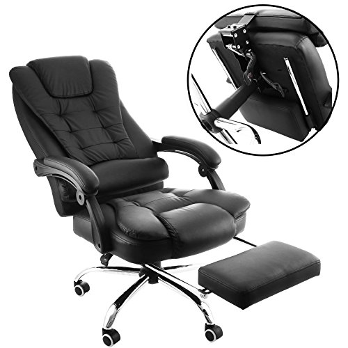 BananaB Reclining Executive Chair Chefsessel PU Leder High Back Bürostuhl Ergonomisches Design Büro Liegesessel mit Fußstütze 360 Grad Swivel Schwarz Computer Nickerchen Stuhl -