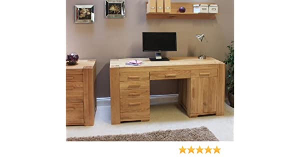 atlas chunky oak hidden home. baumhaus cmr06b atlas solid oak twin pedestal computer desk amazoncouk kitchen u0026 home chunky hidden d