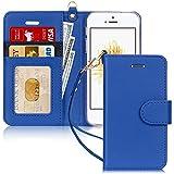 FYY Cover iPhone Se,Cover iPhone 5S,Cover iPhone 5,Flip Custodia Portafoglio [Funzione Staffa] in Premium Pelle PU, con Slot per Schede e Chiusura Magnetica per iPhone SE/5S/5-Blu