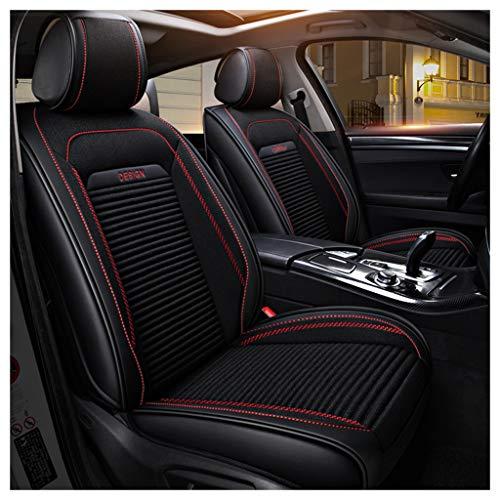 vorderer und hinterer 5-Sitzer-Komplettsatz Universal-Leinenleder Four Seasons Pad Kompatibel mit Airbag-Sitzprotektoren. (Farbe : SCHWARZ) ()