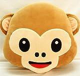 Kuscheltier Affe Lachen Emoticon Kissen Polster Dekokissen Stuhlkissen Sitzkissen Rund Plüschtiere Geschenke (Affe)