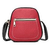 UFACE Vintage Damen Kontrast ReißVerschluss Schulter Messenger Bag Handytasche Frauen Hit Farbe Leder Crossbody Tasche Schultertasche (Rot)