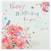 "Hallmark Birthday Card""Flowers and Butterflies"" - Small Square"
