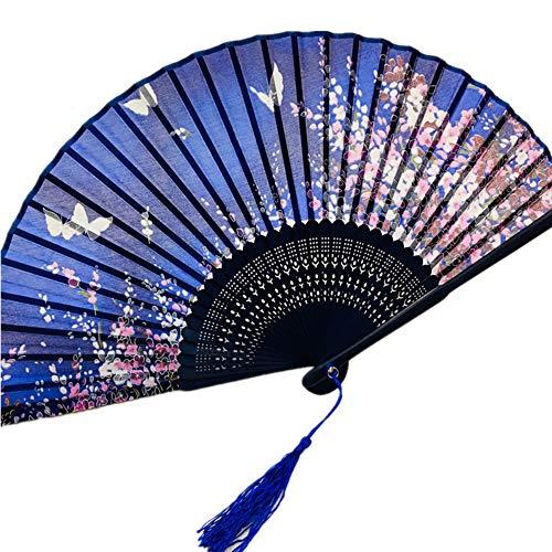 Kimono Knochen (Yowinlo Faltfächer Hand Fächer Seide Fan Japanischen Stil Kimono Kirschblüte Faltfächer Verteilung Fan Kopf Grün Fan Knochen Bambus Fan Seide Fan)