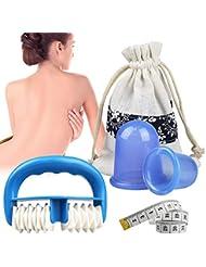 Ventouse Anti Cellulite, 2 PCS Ventouse Cellulite Minceur Roller Minceur Silicone Massage Cups, Anti-âge, Réducteur de Rides, Soulagement de la Douleur, Réduit les Tensions Musculaires