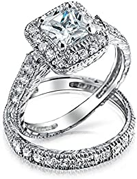 Bling Jewelry Silver Princess CZ Deco Style Engagement Wedding Ring Set