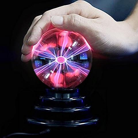 SOLMORE 3inch(8CM) Boule Magique USB Prise Ballon Foudre Tactile Cristal