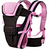 My NewBorn Baby Carrier Shoulder Belt Sling Backpack and Extra Safe Waist Belt (Pink)