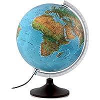 Atmosphere - Globo terráqueo con esfera de plástico, iluminada, en castellano, 30 cm, color azul (Mapiberia Sold B)