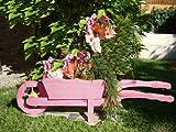 XXL Holz-Schubkarre zum Bepflanzen, Blumentöpfe, Pflanzkübel, Pflanzkasten, Blumenkasten, Pflanzhilfe, Pflanzcontainer, Pflanztröge, Pflanzschale, Schubkarren 110 cm HSC-110-PINK Blumentopf, Holz, rot pink amazon rosarot Pflanzgefäß, Pflanztöpfe Pflanzkübel
