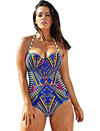 Bañadores Deportivas Mujer,Xinan Traje de Baño de Una Pieza Push Up Acolchada Bikini (L)